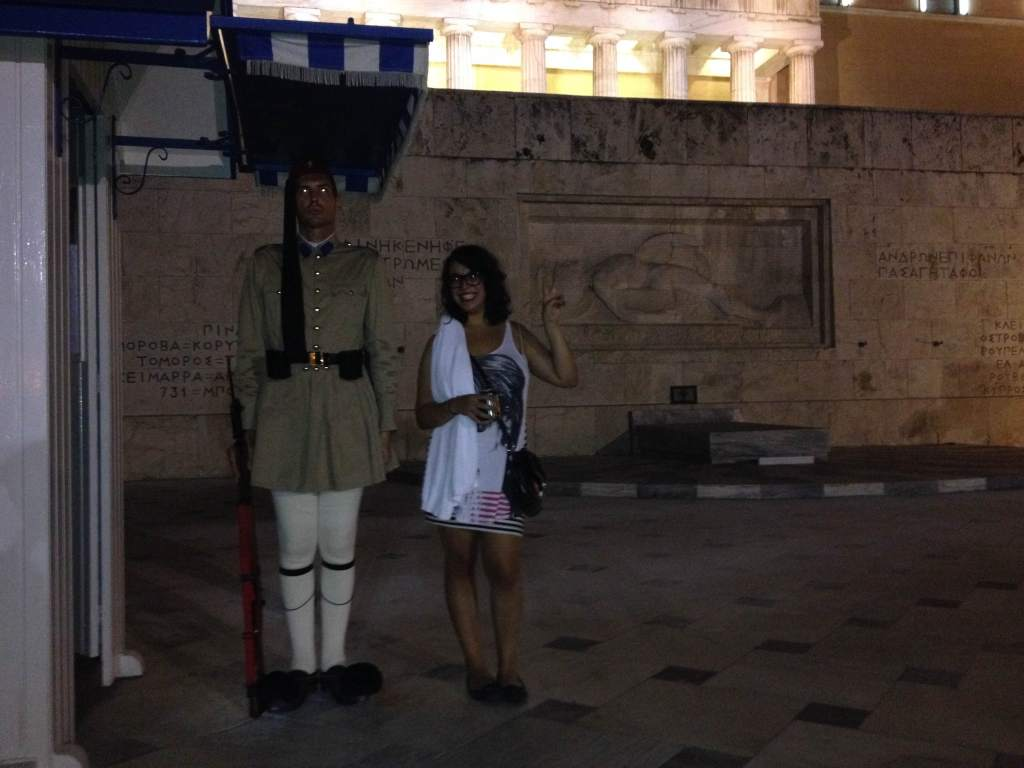 Inas and the guard, Greece.